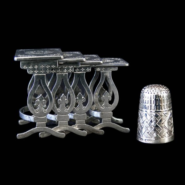 Antique Chinese Export Silver set of Miniature Nesting Tables