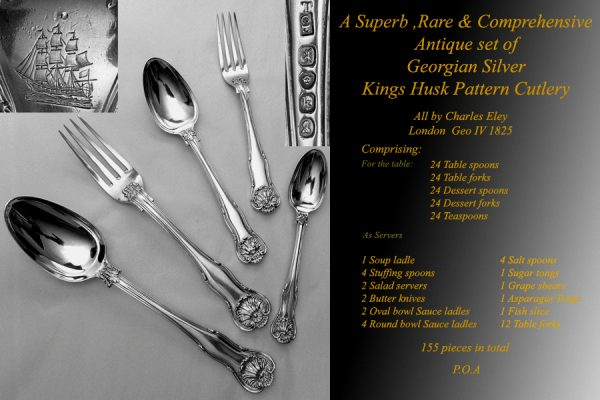 A rare and comprehensive set of antique Georgian Silver cutlery for twenty four place settings all London 1825