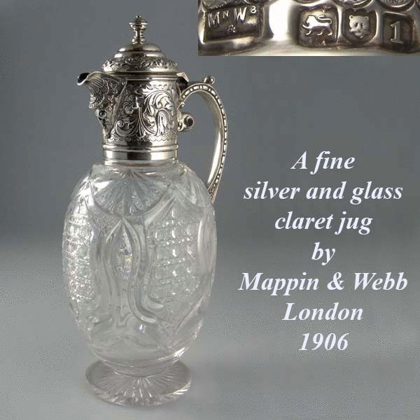 Edwardian Antique Silver Claret jug by Mappin and Webb