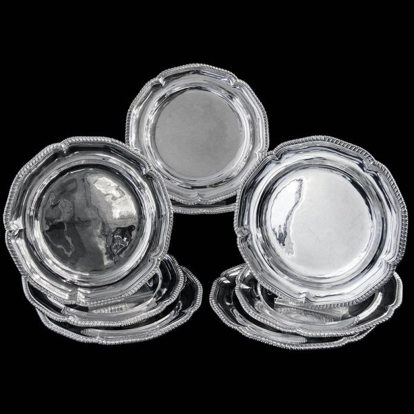 Antique English Georgian Sterling Silver Dinner Plates