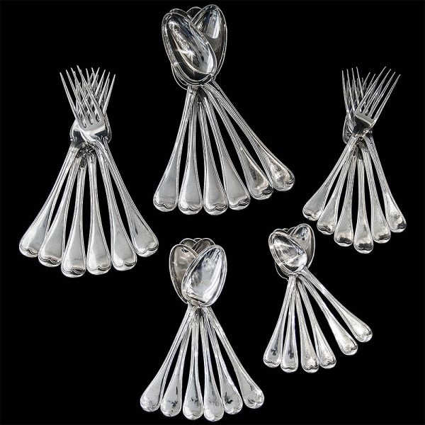 Antique English Silver Old English Military Thread Flatware