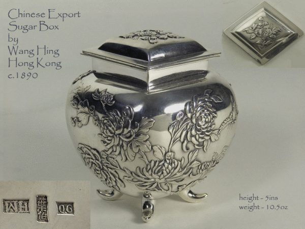 Antique Silver Chinese Export Sugar Box