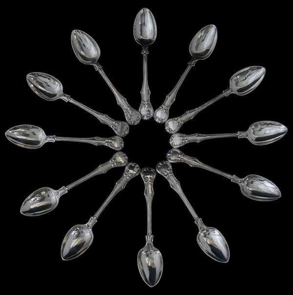 Antique English Victorian Silver Victoria Pattern Teaspoons