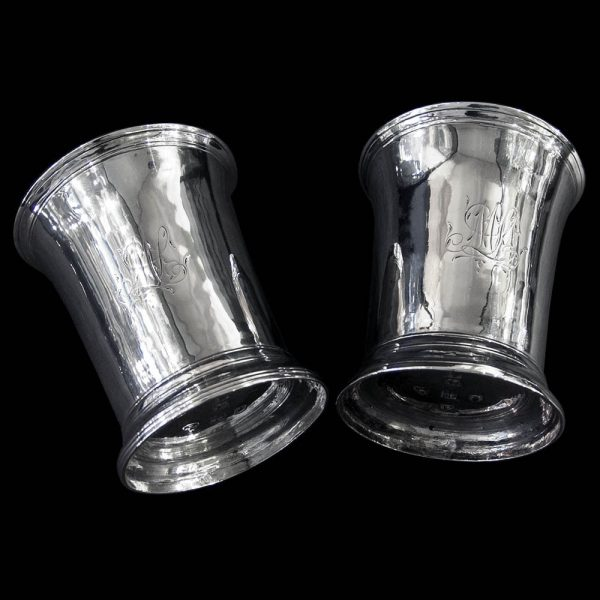 A Pair of English Antique Georgian Silver Provincial Beakers