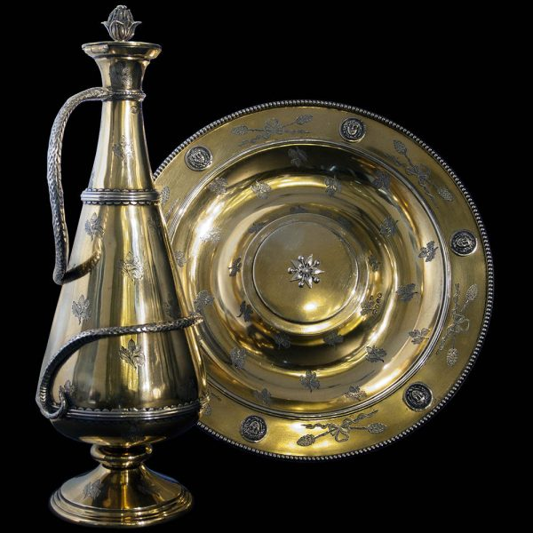 Antique English Victorian Silver Gilt Ewer and Charger