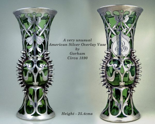 Antique Amercan silver overlay green glass vase