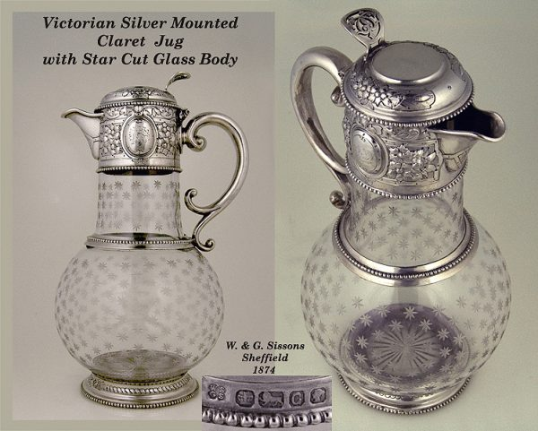 Victorian Antique Silver mounted claret with star etched glass