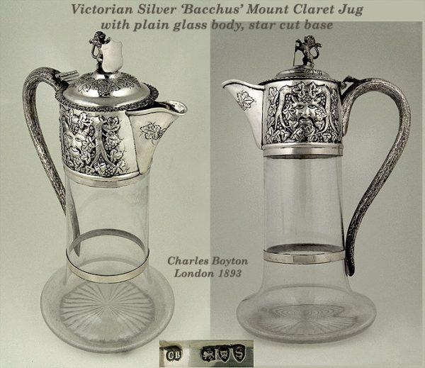 Antique Silver mounted plain glass claret jug Bacchanalian