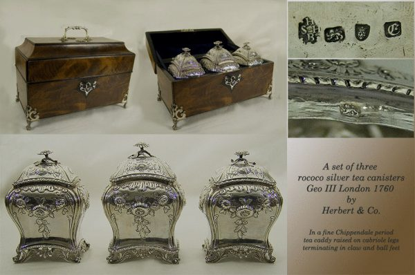 Antique silver Set of 3 George III Rococo tea caddies in Chippendale period mahogany box