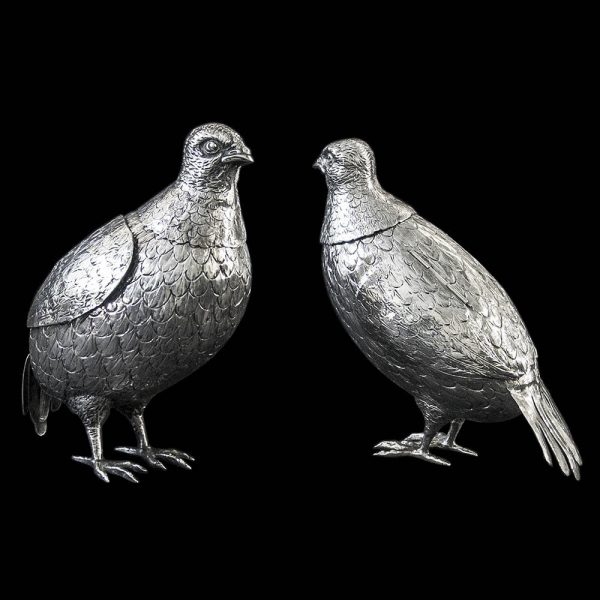 Pair of Antique Sterling Silver Grouse